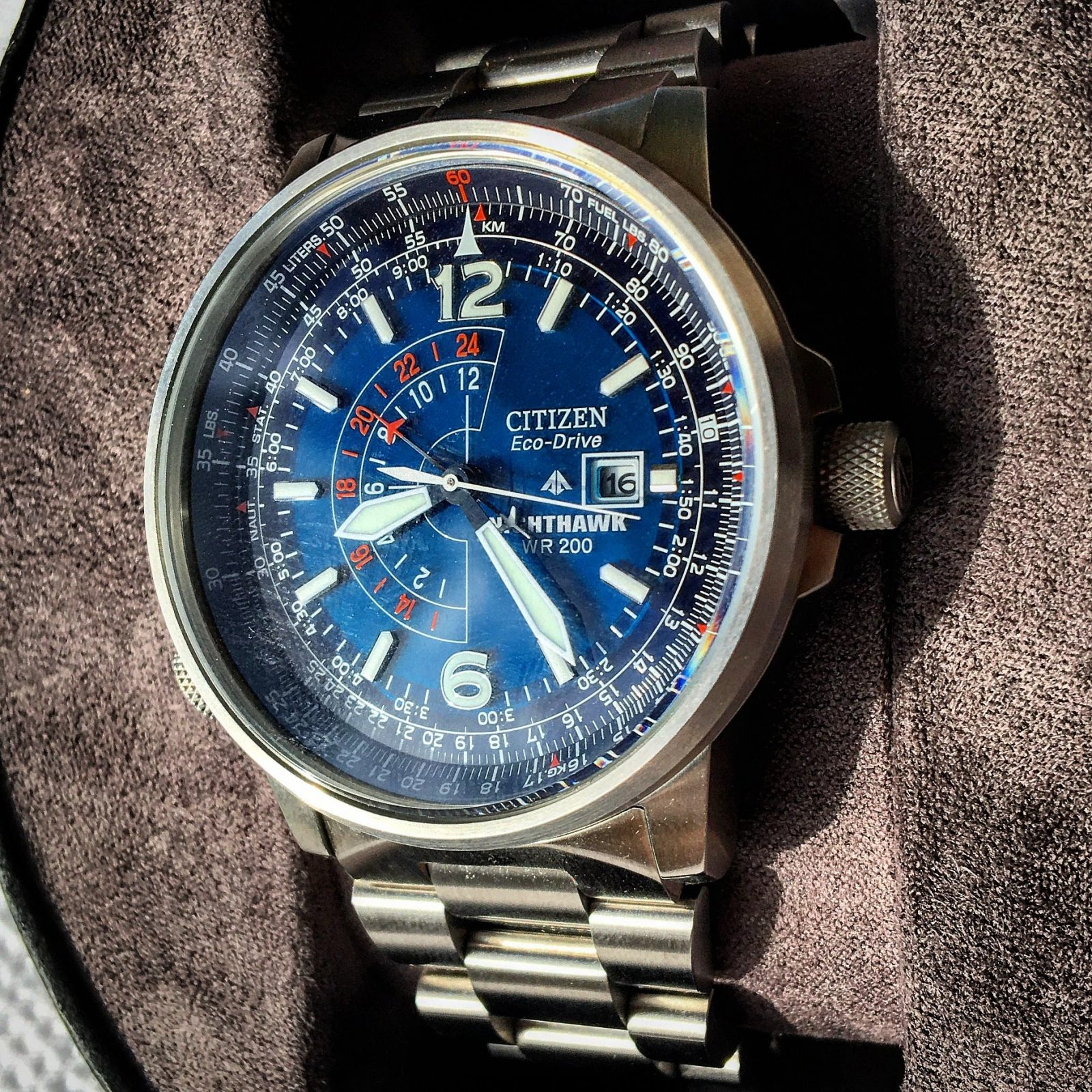 The striking Citizen Nighthawk dial