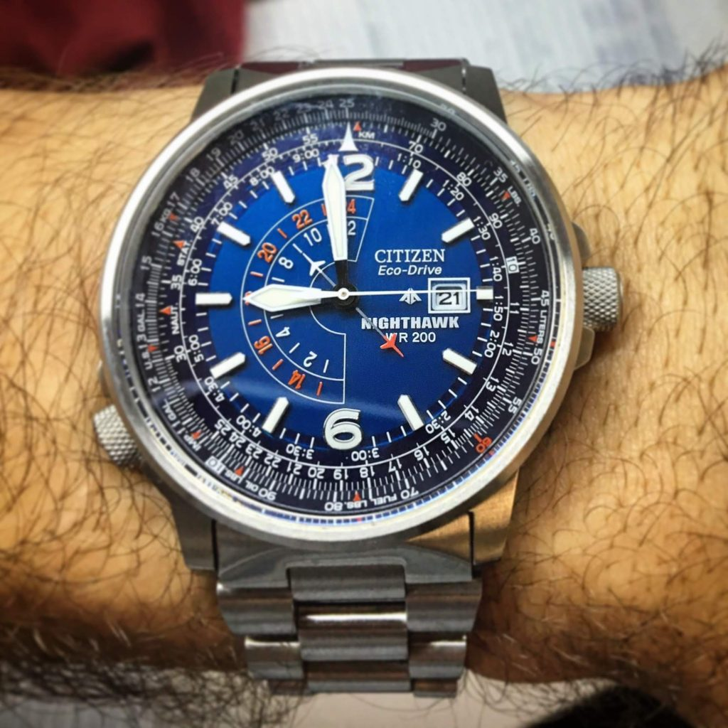 The Citizen Nighthawk GMT - pointing at 9am