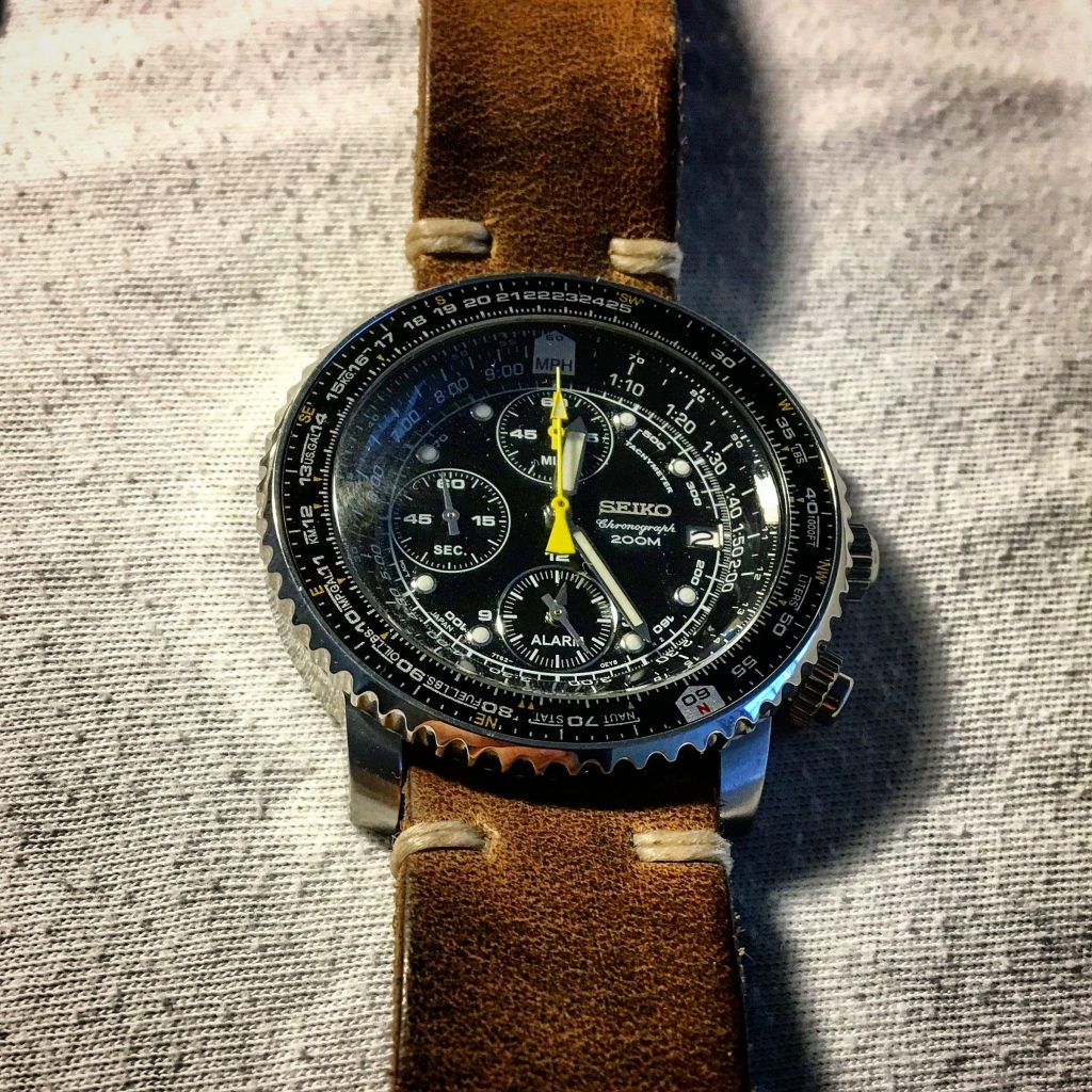 Seiko Flightmaster with 21mm lug width sporting a 22mm leather strap