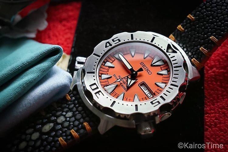 Seiko 2nd gen orange monster on a custom strap