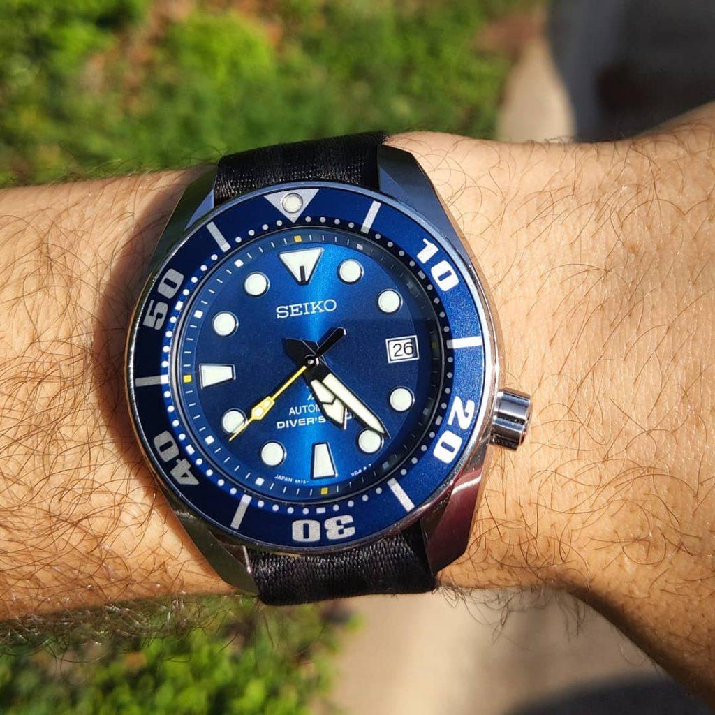 Seiko Coral sumo reflective blue on black NATO strap