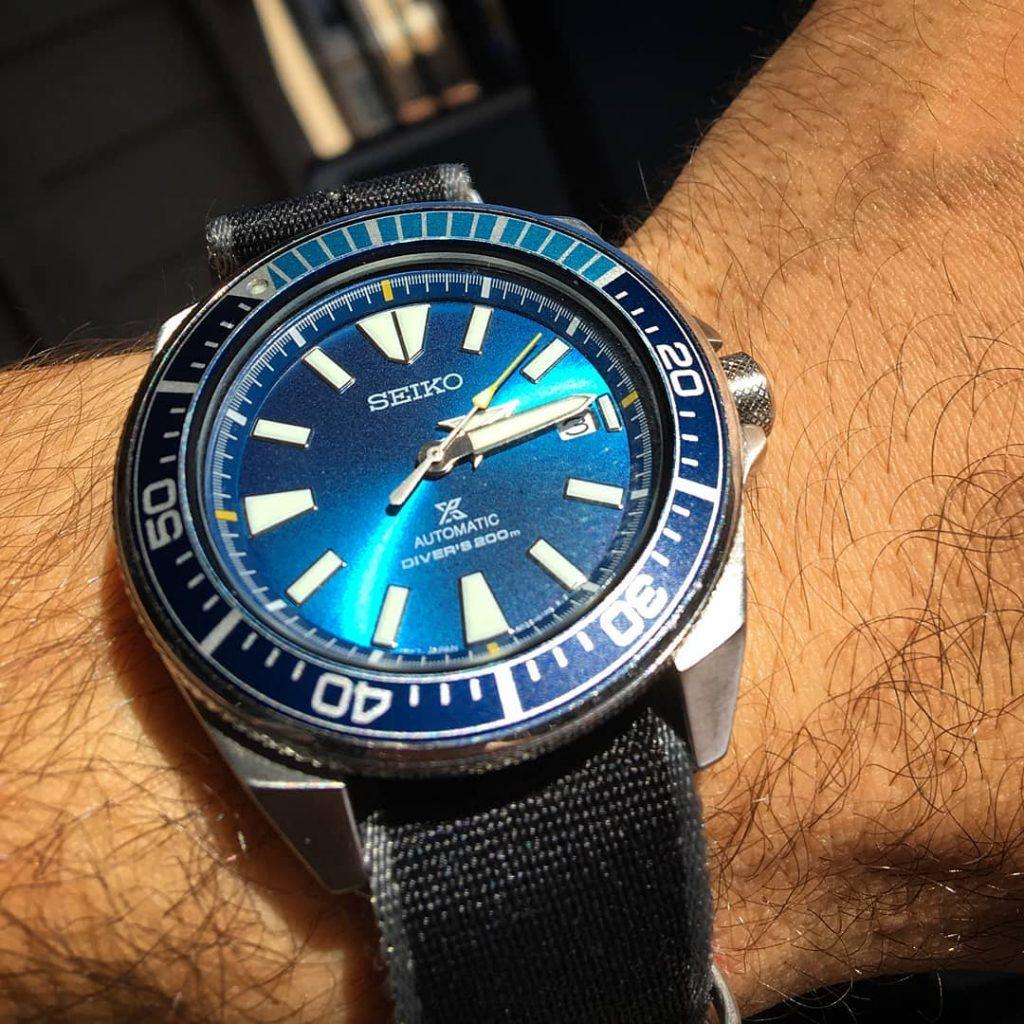 Samurai Blue Lagoon on a black NATO wristshot