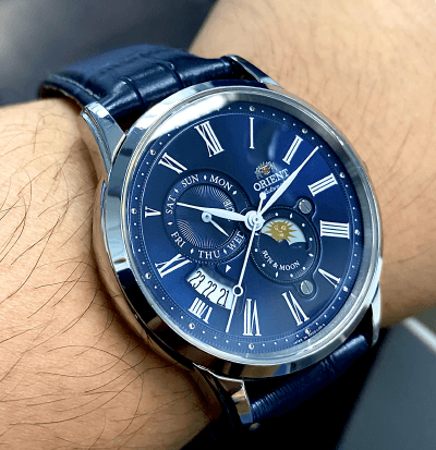 Orient Sun and Moon v3 reflective blue dial
