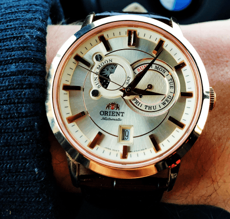 orient v1 with champagne dial